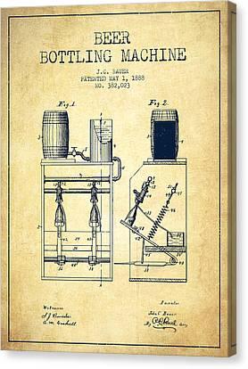 1888 Beer Bottling Machine Patent - Vintage Canvas Print by Aged Pixel