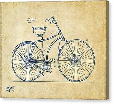 1890 Bicycle Patent Minimal - Vintage Canvas Print by Nikki Marie Smith