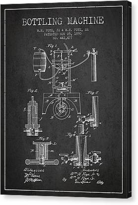 1890 Bottling Machine Patent - Charcoal Canvas Print by Aged Pixel