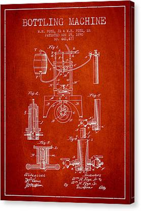 1890 Bottling Machine Patent - Red Canvas Print by Aged Pixel