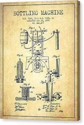 1890 Bottling Machine Patent - Vintage Canvas Print by Aged Pixel