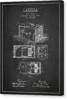 1890 Camera Patent - Charcoal Canvas Print by Aged Pixel