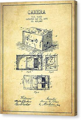 1890 Camera Patent - Vintage Canvas Print by Aged Pixel