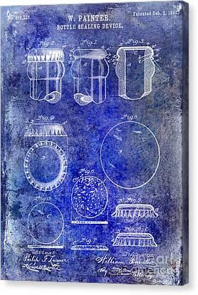 1892 Bottle Cap Patent Blue Canvas Print by Jon Neidert