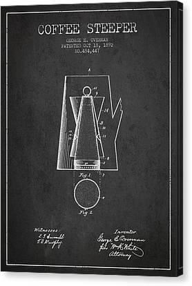 1892 Coffee Steeper Patent - Charcoal Canvas Print by Aged Pixel
