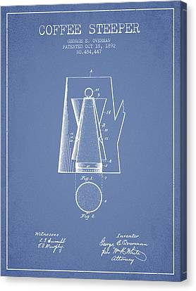 1892 Coffee Steeper Patent - Light Blue Canvas Print by Aged Pixel