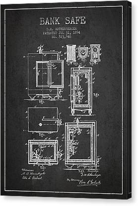 1894 Bank Safe Patent - Charcoal Canvas Print by Aged Pixel