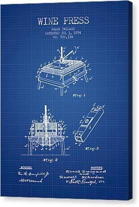 1894 Wine Press Patent - Blueprint Canvas Print by Aged Pixel