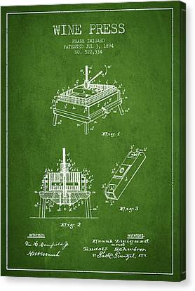 1894 Wine Press Patent - Green Canvas Print by Aged Pixel