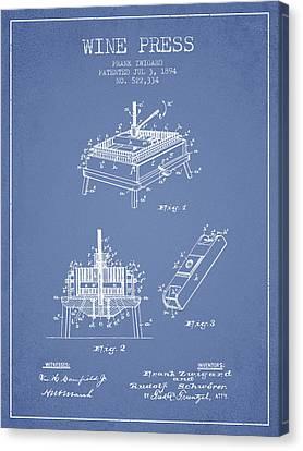 1894 Wine Press Patent - Light Blue Canvas Print by Aged Pixel