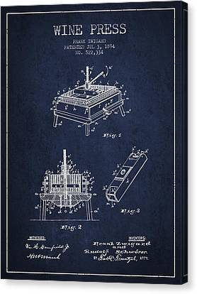 1894 Wine Press Patent - Navy Blue Canvas Print by Aged Pixel