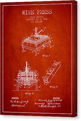 1894 Wine Press Patent - Red Canvas Print by Aged Pixel