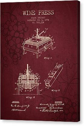 1894 Wine Press Patent - Red Wine Canvas Print by Aged Pixel