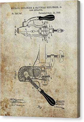 1895 Cork Extractor Patent Canvas Print by Dan Sproul