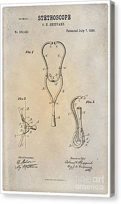 1896 Stethoscope Patent Art Sheppard 1 Canvas Print by Nishanth Gopinathan