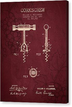 1897 Corkscrew Patent Drawing - Red Wine Canvas Print by Aged Pixel