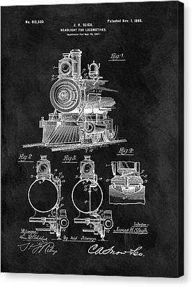 1898 Locomotive Headlight Patent Canvas Print by Dan Sproul