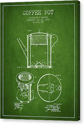 1899 Coffee Pot Patent - Green Canvas Print by Aged Pixel