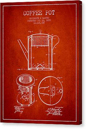 1899 Coffee Pot Patent - Red Canvas Print by Aged Pixel