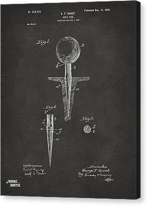 1899 Golf Tee Patent Artwork - Gray Canvas Print by Nikki Marie Smith