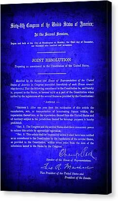 18th Amendment That Launched Prohibition 1917 Canvas Print by Daniel Hagerman