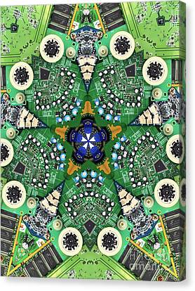 Computer Circuit Board Kaleidoscopic Design Canvas Print by Amy Cicconi