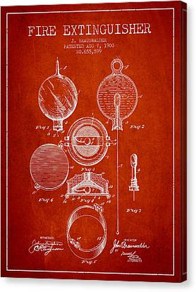 1900 Fire Extinguisher Patent - Red Canvas Print by Aged Pixel