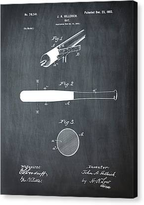 1902 Baseball Bat Patent In Chalk Canvas Print by Bill Cannon