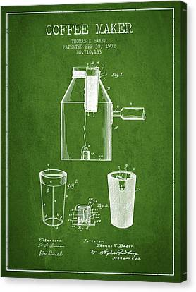 1902 Coffee Maker Patent - Green Canvas Print by Aged Pixel