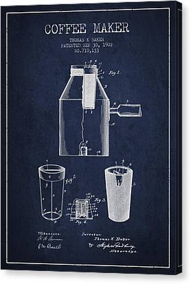 1902 Coffee Maker Patent - Navy Blue Canvas Print by Aged Pixel
