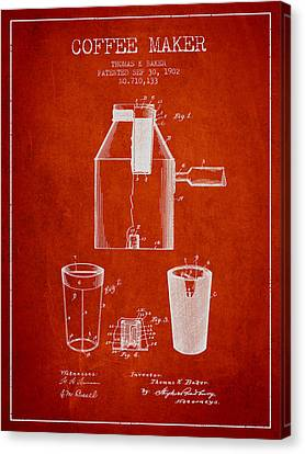 1902 Coffee Maker Patent - Red Canvas Print by Aged Pixel