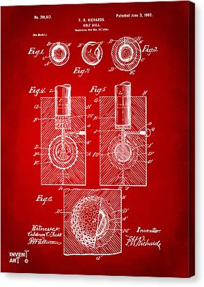 1902 Golf Ball Patent Artwork Red Canvas Print by Nikki Marie Smith