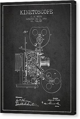 1902 Kinetoscope Patent - Charcoal Canvas Print by Aged Pixel