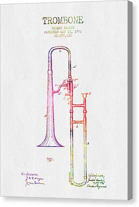 1902 Trombone Patent - Color Canvas Print by Aged Pixel