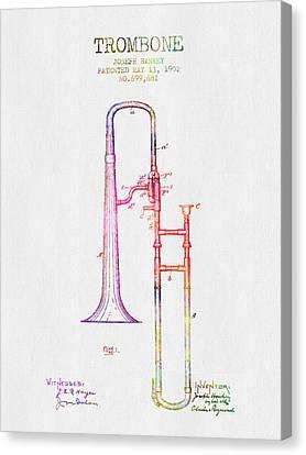 1902 Trombone Patent - Color Canvas Print by Aged Pixel