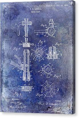 1903 Beer Tap Patent Blue Canvas Print by Jon Neidert