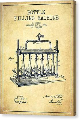 1903 Bottle Filling Machine Patent - Vintage Canvas Print by Aged Pixel