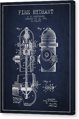 1903 Fire Hydrant Patent - Navy Blue Canvas Print by Aged Pixel