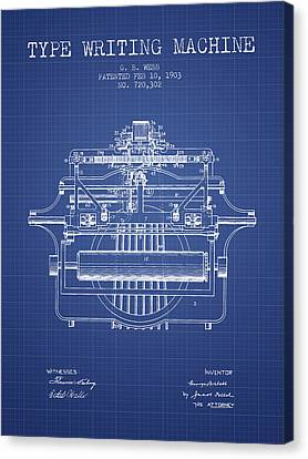 1903 Type Writing Machine Patent - Blueprint Canvas Print by Aged Pixel