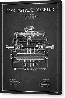 1903 Type Writing Machine Patent - Charcoal Canvas Print by Aged Pixel