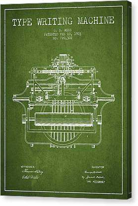1903 Type Writing Machine Patent - Green Canvas Print by Aged Pixel