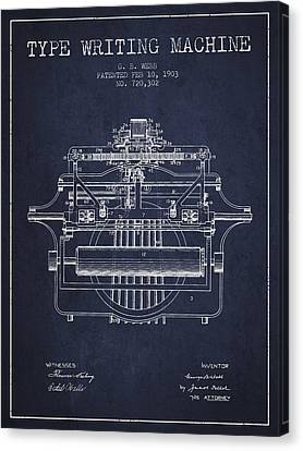 1903 Type Writing Machine Patent - Navy Blue Canvas Print by Aged Pixel