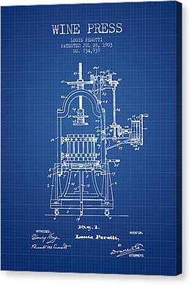 1903 Wine Press Patent - Blueprint 02 Canvas Print by Aged Pixel