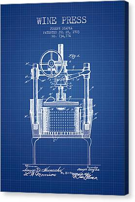 1903 Wine Press Patent - Blueprint Canvas Print by Aged Pixel