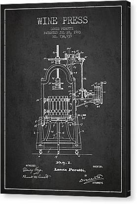 1903 Wine Press Patent - Charcoal 02 Canvas Print by Aged Pixel