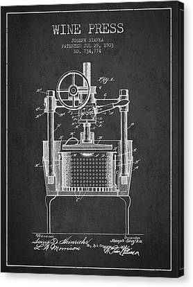 1903 Wine Press Patent - Charcoal Canvas Print by Aged Pixel