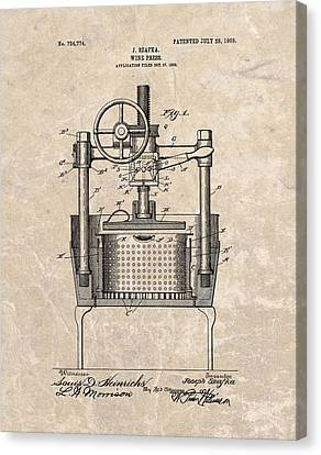 1903 Wine Press Patent Canvas Print by Dan Sproul