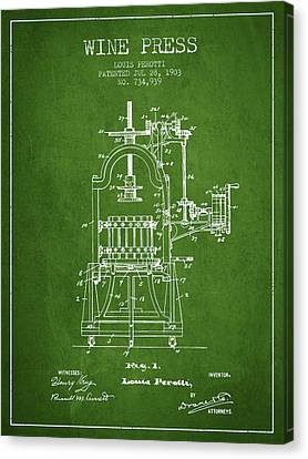 1903 Wine Press Patent - Green 02 Canvas Print by Aged Pixel