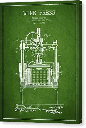 1903 Wine Press Patent - Green Canvas Print by Aged Pixel