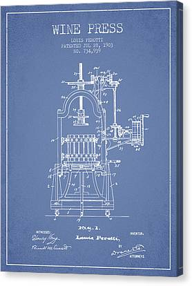 1903 Wine Press Patent - Light Blue 02 Canvas Print by Aged Pixel